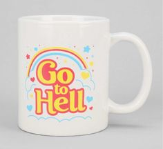 Happy Morning Mug featuring a graphic that describes what mornings feel like for the not-a-morning-person.