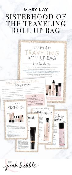 Mary Kay Sisterhood of the Traveling Roll Up Bag Packet! Includes Flier, Survey & Product Instruction Cards! Find it only at www.thepinkbubble.co!