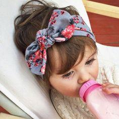 1 pieces 2015 Cute Newborn Baby Cool Girls Printing Knot Elasticity Headband Cotton Children Girls Baby