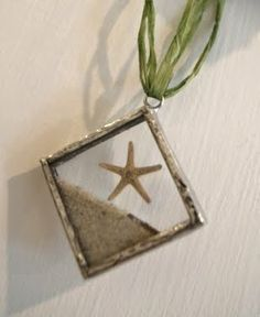 Beach sand with starfish ornament idea LIKE this - would add 'vaca' spot ... i.e. nags head, NC w/ Date