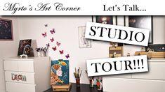 It's studio tour time! Home Studio, Hello Everyone, House Tours, Videos, Youtube, House Studio, Youtubers, Youtube Movies
