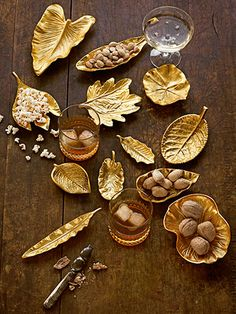Available in 17 different kinds of foliage, from lotus to sassafras, these brass dishes are ready to be pressed into service proffering hors d'oeuvres.