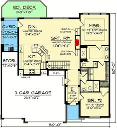 Craftsman Ranch with Rustic Charm - floor plan - Main Level 2 Bedroom House Plans, Cabin House Plans, Best House Plans, Small House Plans, House Floor Plans, Craftsman Ranch, Rustic Shutters, Shingle Siding, Kitchen Cabinet Remodel
