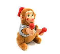 Vintage Wind Up Monkey Toy
