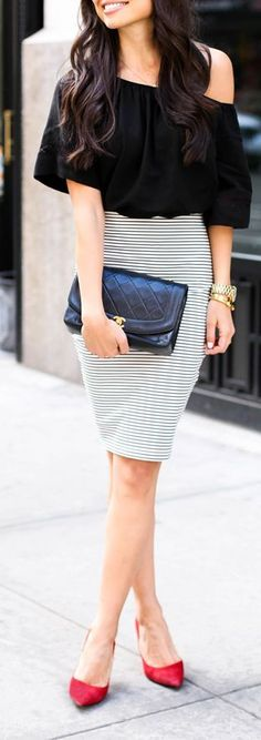 Striped Pencil Skirt , Black Top and Red Pumps - W...
