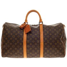 Pre-owned Louis Vuitton Keepall Monogram Canvas 50 ($755) ❤ liked on Polyvore featuring bags, luggage, duffel bags and carry-on bags, handbags and purses and luggage and travel bags