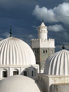 White domes of Sidi Bou Makhlouf Mausoleum in El Kef, Tunisia