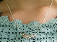 Pink opal leaf and bud necklace