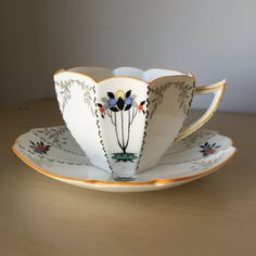 Shelley Art Deco Vintage Teacup and Saucer, Queen Anne Shaped Tea Cup & Saucer, Orange Black Circle Tree Design, Fall English Bone China,