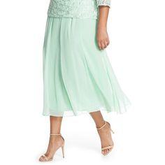 Alex Evenings Chiffon Skirt (3.125 RUB) ❤ liked on Polyvore featuring plus size women's fashion, plus size clothing, plus size skirts, fresh mint, plus size, elastic waist skirt, below knee skirts, frilly skirt, plus size chiffon skirt and mint green skirt