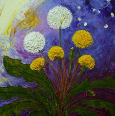 Dandelions 18x18 Inch Original Impasto Oil Painting by Paris Wyatt Llanso