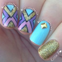 Gold & Turquoise Tribal Nail Design