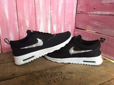 Blinged Womens Nike Air Max Thea Running Shoes Black Blinged Out With Swarovski Crystal Rhinestones