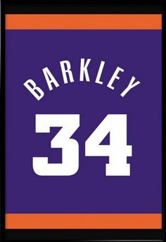 Charles Barkley Number 34 Phoenix Suns Jersey Art Print. Visit our Etsy store for inspirational quotes and jersey art prints of your favourite teams and use FATHERSDAY15 coupon code for Free shipping within US! #inspirational #quote #poster #mancave #fathersday #gift