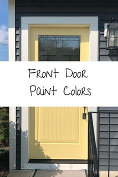 The front door is the perfect opportunity to add color and character to your home. Learn how to pick a front door color to make a statement. Exterior Door Colors, Front Door Paint Colors, Exterior Front Doors, Painted Front Doors, Front Door Design, Exterior Paint, Exterior Design, Garage Doors, Yellow Brick Houses