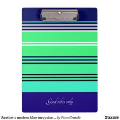 Aesthetic modern blue turquoise and white stripes clipboard Love Blue, Turquoise Color, Clipboard, Staying Organized, Artwork Design, Good Vibes Only, Best Self, School Supplies, Back To School