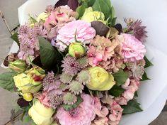 roses, dahlias, astrantia, hydrangea