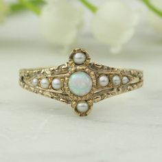 Victorian Opal and Seed Pearl 14k Rose Gold by ArtifactVintage