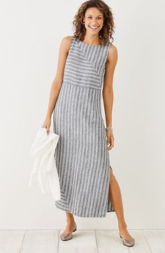 Striped sleeveless dress - Women Plus Size Dresses Summer Shift Daytime Holiday Maxi Dresses – Striped sleeveless dress Gray Dress, Striped Dress, Striped Linen, Side Split Dress, Maxi Dress With Sleeves, Sleeve Dresses, Shirt Dress, Dress Tops, Cotton Dresses