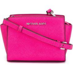 Michael Michael Kors Selma Crossbody Bag ($170) ❤ liked on Polyvore featuring bags, handbags, shoulder bags, pink shoulder bag, leather cross body purse, pink purse, crossbody shoulder bags and pink leather purse
