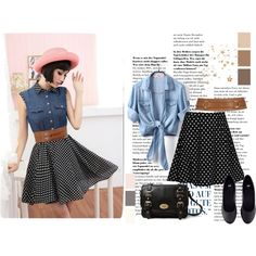 Jean shirt and chiffon skirt outfit