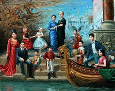 "# 35   Dr. Alfonso Chan Family Portrat 48"" x 60"", oil on canvas, 2013"
