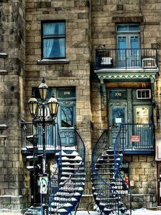 City of Montreal: Quebec: Canada Lovely, curving stairs form an inviting entry to an old building. Quebec Montreal, Montreal Ville, Montreal Food, Quebec City, Beautiful Buildings, Beautiful Places, Beautiful Stairs, Beautiful Architecture, Beautiful Pictures