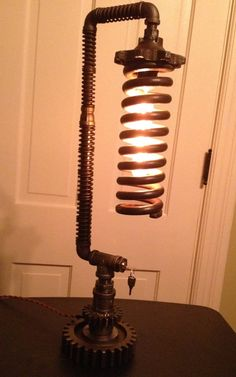 Large Spring Industrial Lamp by OneMansJunk71 on Etsy