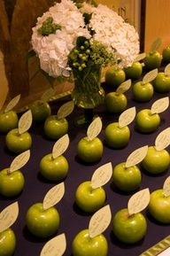 Weddings Reception Name Cards - Cards pinned to apples