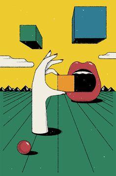 "Michael Haddad mixes ""push-pin, French comics and paperback sci-fi"" into postmodern illustrations"