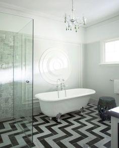 Chevron tile floor & Clawfoot tub