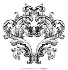 Motif Baroque, Baroque Art, Versace Tattoo, Filagree Tattoo, Body Art Tattoos, Sleeve Tattoos, Victorian Tattoo, Carl Friedrich, Engraving Art