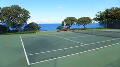 Seaside tennis courts in Kamuela, Hawaii