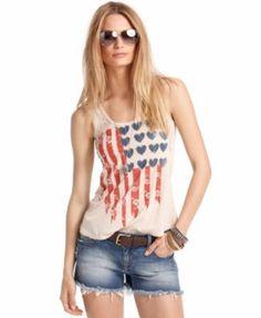 American Rag Juniors Top, Sleeveless Flag-Print Tank | macys.com
