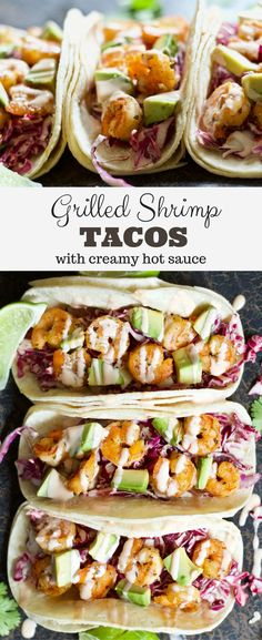 Extremely healthy & easy Mexican shrimp tacos recipe that everyone will love! Tortillas topped with a cabbage slaw, avocado, shrimp, & some awesome sauce!