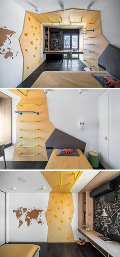 This modern kids bedroom has a custom climbing feature that wraps from one side ., This modern kids bedroom has a custom climbing feature that wraps from one side of the room to the other, and separates the sleeping area from a desk .