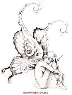 dragon with fairy tatoo Kunst Tattoos, Tattoo Drawings, Body Art Tattoos, Tattoo Art, Tattoo Stencils, Small Fairy Tattoos, Tattoo Small, Fairy Wing Tattoos, Elfen Tattoo