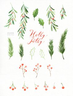 Holly Jolly Watercolor Christmas Clipart, Holiday Winter Set, Christmas Card, Santa Claus, New Year Watercolor Christmas Cards, Christmas Drawing, Watercolor Cards, Christmas Art, Watercolor Illustration, Simple Watercolor, Tattoo Watercolor, Watercolor Trees, Watercolor Animals