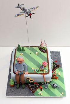 A gardener's cake for a 90 year old gentleman who built Spitfires in the war! Fab Cakes, Cute Cakes, 70th Birthday Cake For Men, 3rd Birthday, Birthday Ideas, Fondant Cakes, Cupcake Cakes, Fathers Day Cake, Garden Cakes