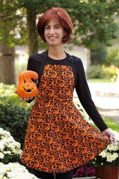 Everyday Flair Just Us Ghouls Bib Apron--Deep Orange and Black