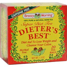 Breezy Morning Teas Dieters Best Super Diet Tea Herbal Tea Caffeine Free - 20 Bags - 100% Pure and Natural Herb Tea Diet Aid to Lose Weight and Cleanse Your Colon Created by Mother Nature, Brought to You by Breezy Morning A great tasting beverage that works to: Help control your appetite and the urge to overeat. Gently cleanse your colon without robbing you of essential vitamins. Gently regulate your system without the pain and discomfort of other brands. Promotes normal elimination in a…