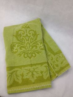 VTG 70s Towel Avocado Green Sculpted MCM Cutter Material Fabric Upcycle Martex #Martex