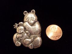 VINTAGE STERLING SILVER PANDA BEAR AND CUB BROOCH SIGNED H & H STERLING  #HH