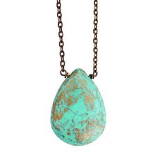Green Turquoise Necklace large pendant necklace. Love. One larges tone with side drilled holes.