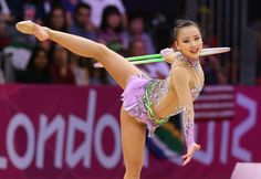 """Korean rhythmic gymnast Son Yeon-jae shows off her hoop performance, dancing to the music """"The Nutcracker"""" at qualifications for the individual all-around event on Thursday at the 2012 London Olympic Games"""