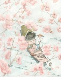 Illustration for 'The Emperor and the Nightingale' by Quentin Greban, Belgium artist, Alberto Giacometti, Children's Book Illustration, Watercolor Illustration, Hans Christian, Asian Art, Oeuvre D'art, Illustrators, Book Art, Concept Art