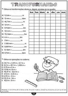 Atividades com Medidas de Comprimento Matemática 4 Ano.   Aprender e Brincar Math 5, Fun Math, Math Games, Teaching Math, Metric Conversion Chart, 3rd Grade Math Worksheets, Teaching Techniques, Classroom Setting, Arithmetic