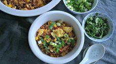 gebakken rijst met spek en ei