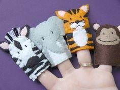 Jungle Creatures - Felt Finger Puppets. $40.00, via Etsy.