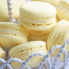 Light and airy vanilla macarons with a delicious vanilla buttercream filling. Almond Vanilla Macarons Recipe from Grandmothers Kitchen. Lemon Macarons, French Macaroons, Italian Macarons, Lemon Macaron Recipe, Macaroon Recipes, Buttercream Filling, Vanilla Buttercream, Köstliche Desserts, Color Schemes